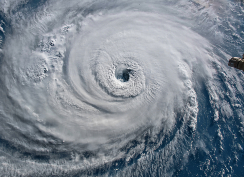 Satellite view. Hurricane Florence over the Atlantics close to the US co...