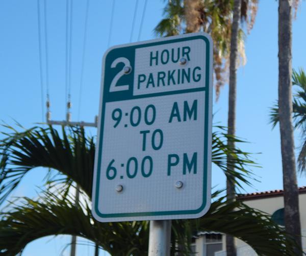 2 hour parking sign