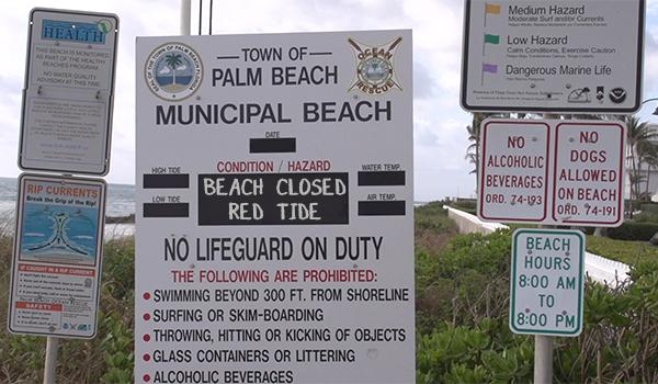 Beach closed Red Tide