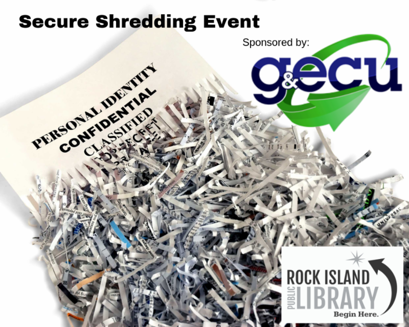 Shredded document image with library and Gas and Electric Credit Union logos