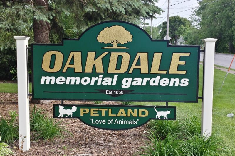 Oakdale cemetery sign