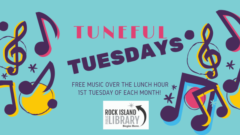 Tuneful Tuesdays Event Header blue background multicolored notes with event title