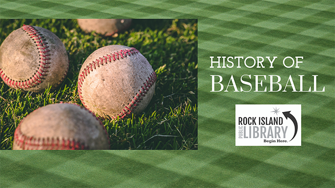inset image of baseballs set against a green baseball diamond with library logo over the field