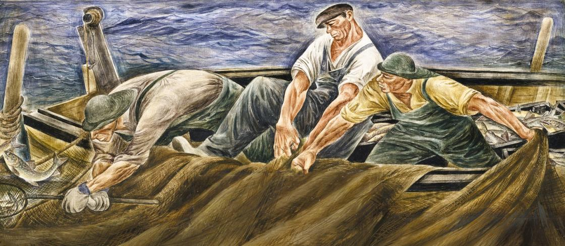 Zoltan Sepeshy, Study for Hauling in the Net Mural, circa 1940 (detail). Collection of Smithsonian American Art Museum.