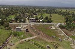 College Lumiere perimeter wall under construction in Haiti.