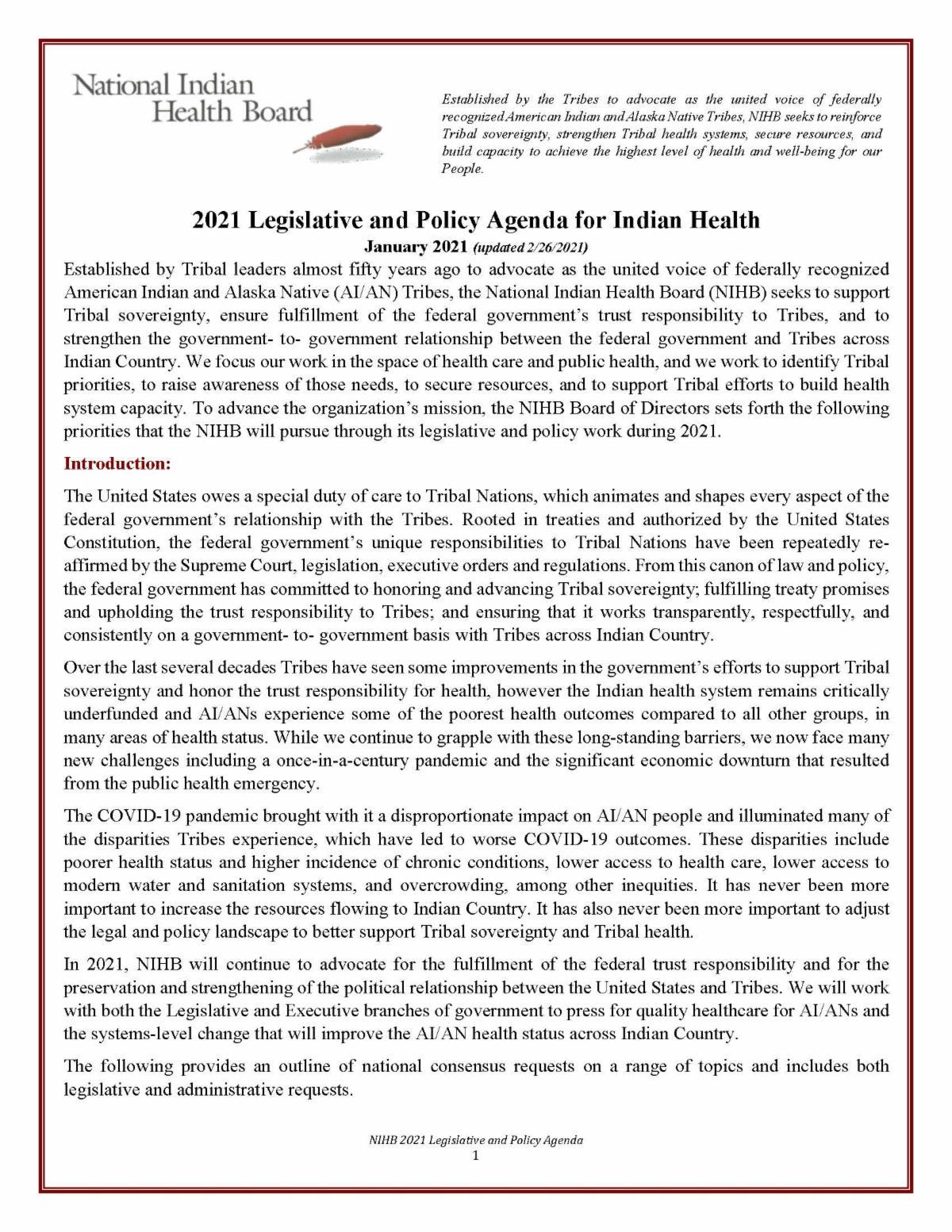NIHB 2021 Leg-Policy Agenda