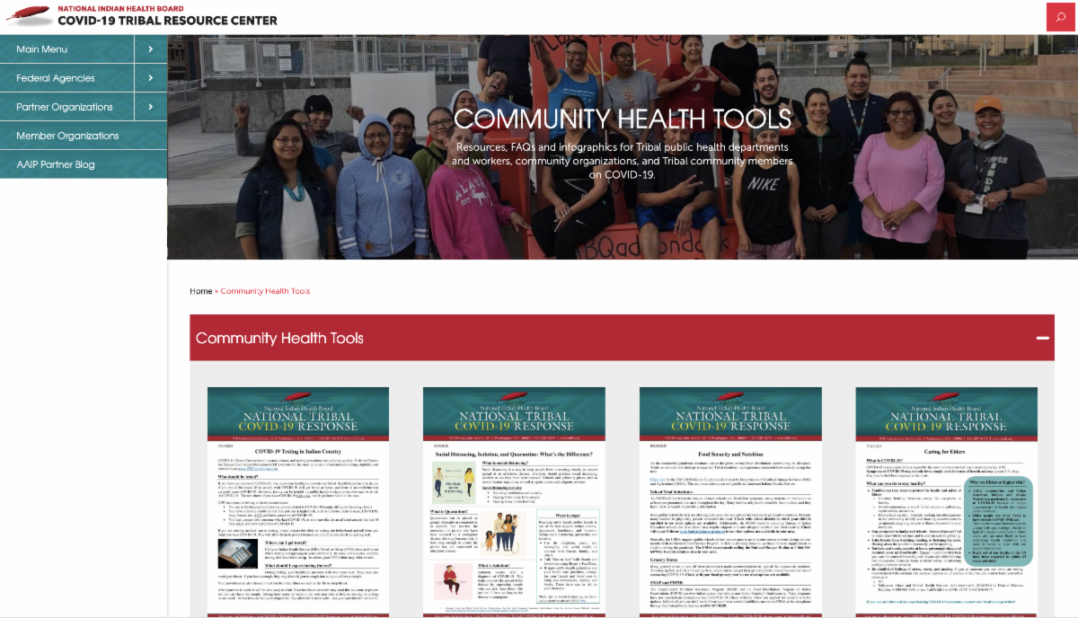 COVID-19 Tribal Resource Center - Community Health Page