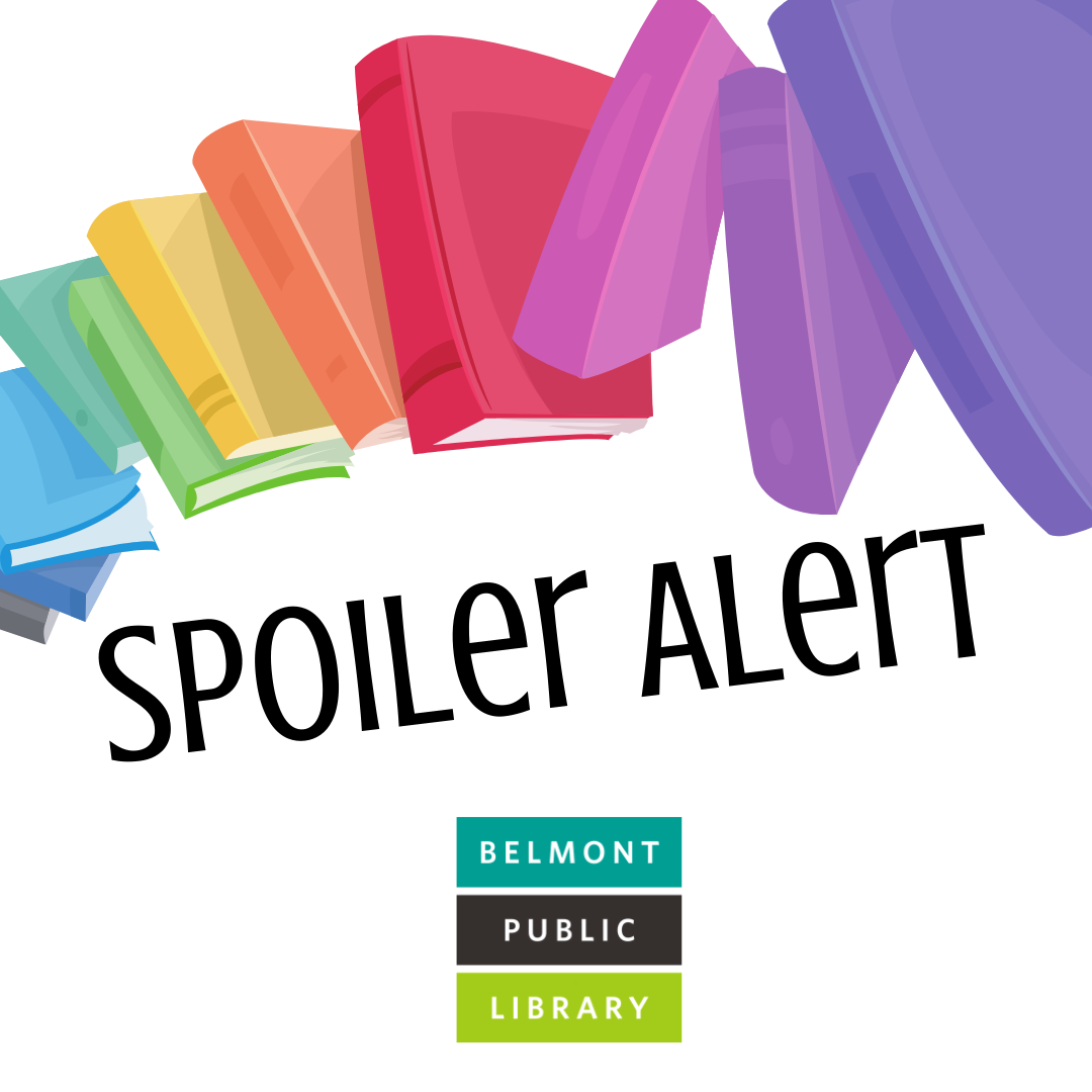 A rainbow of books above text that says Spoiler Alert