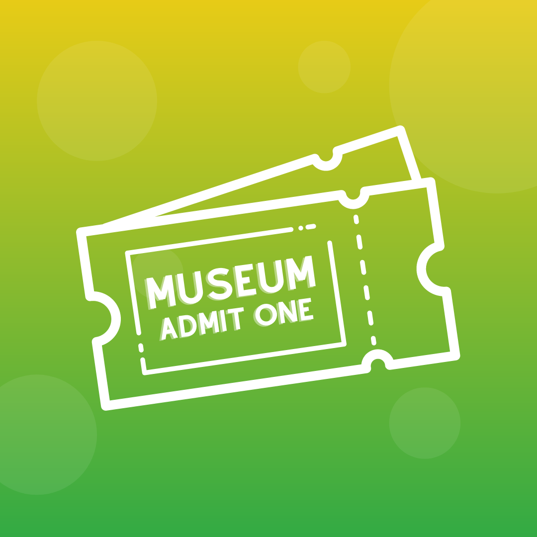 A white outline of museum passes on a yellow and green background.