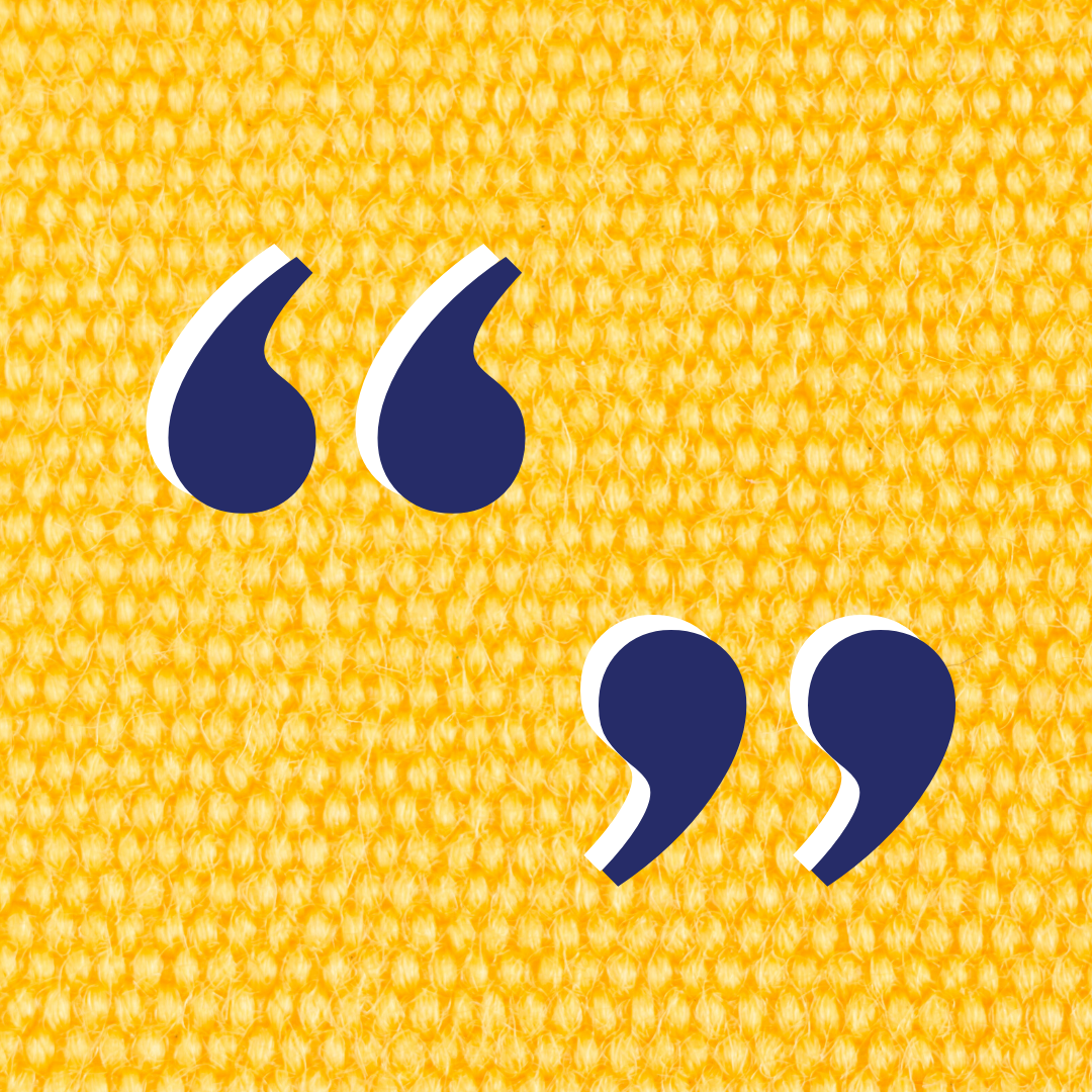 Blue quotation marks on a yellow background
