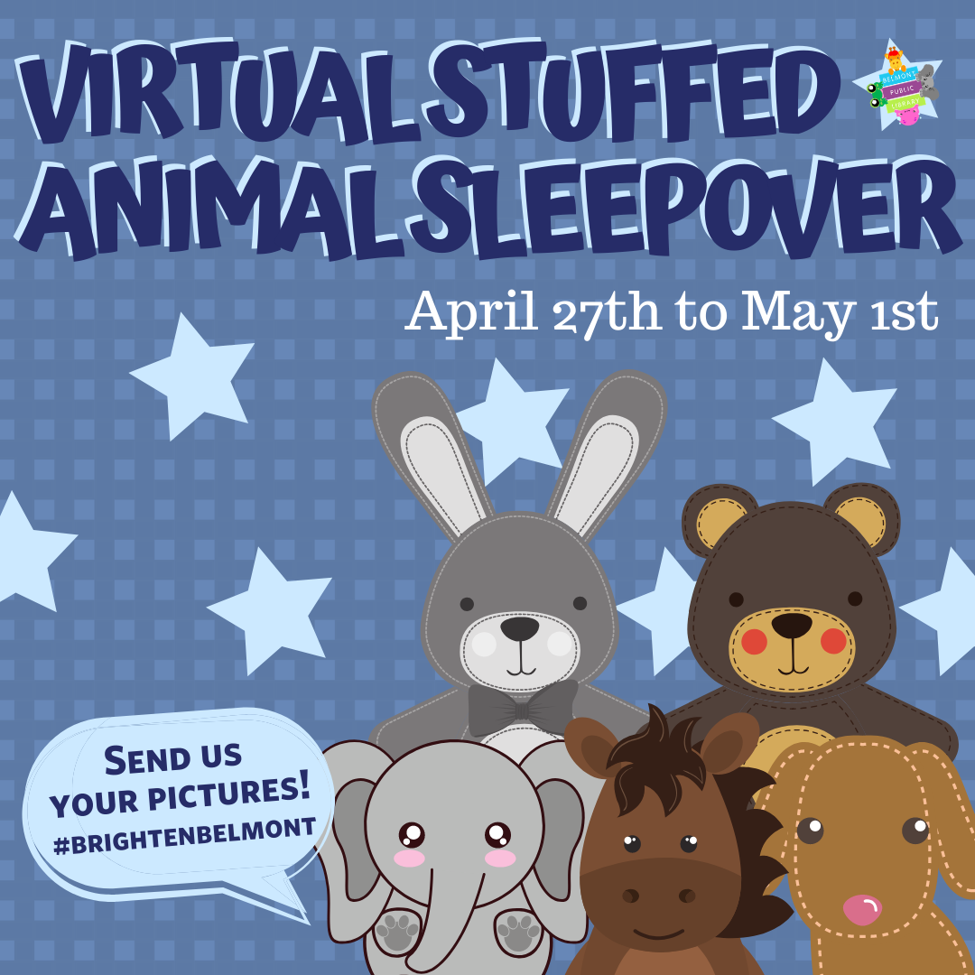 Text reads Virtual Stuffed Animal Sleepover April 27th to May 1st on a blue background with five stuffed animals