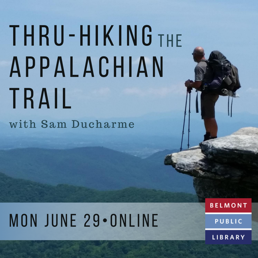 """Text reading """"Thru-Hiking the Appalachian Trail"""" in front of a man standing atop a cliff overlooking mountains."""
