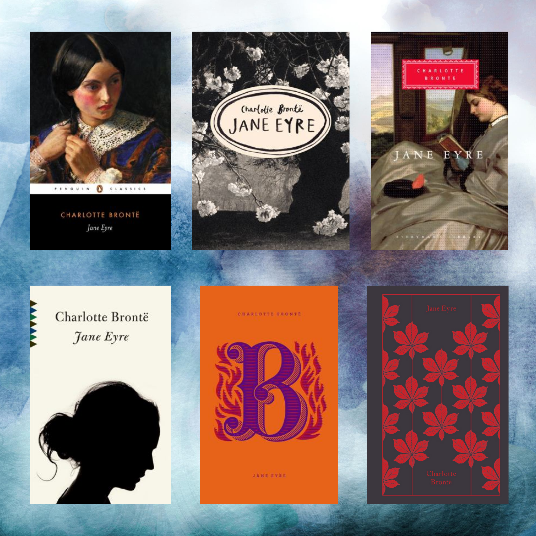 Six book covers of Jane Eyre by Charlotte Brontë on a blue gray watercolor background