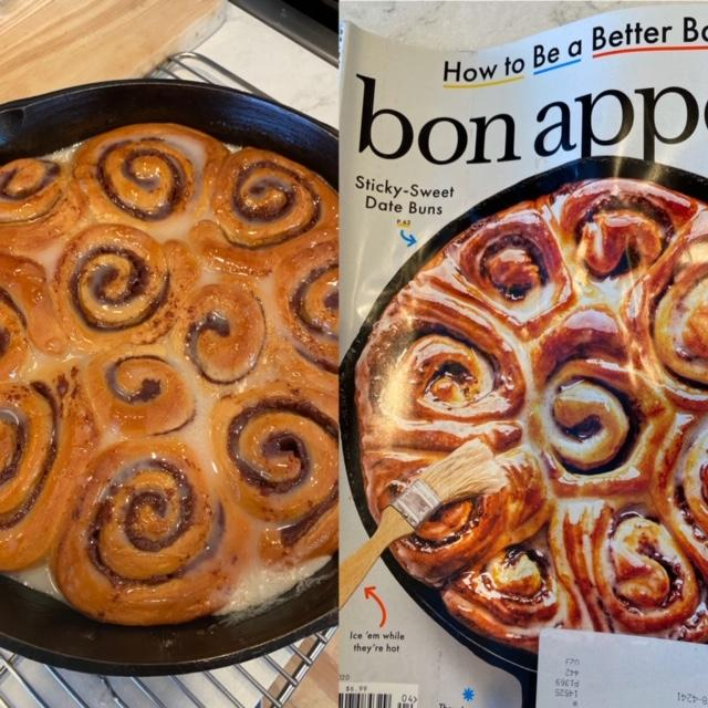 Sticky date buns next to a Bon Appetit magazine with date buns on the cover.