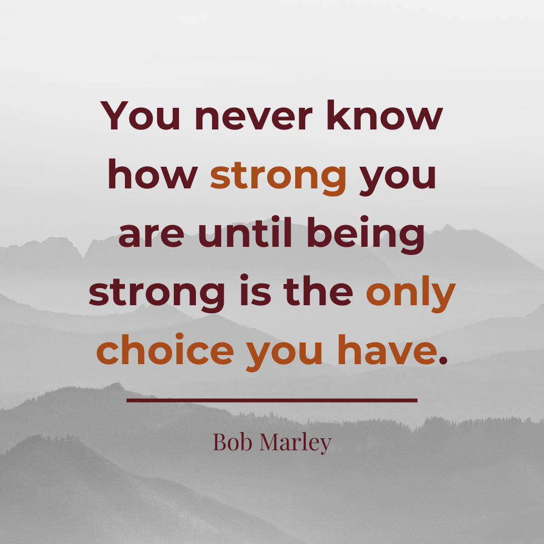 """Quote by Bob Marley: You never know how strong you are until being strong is the only choice you have."""""""