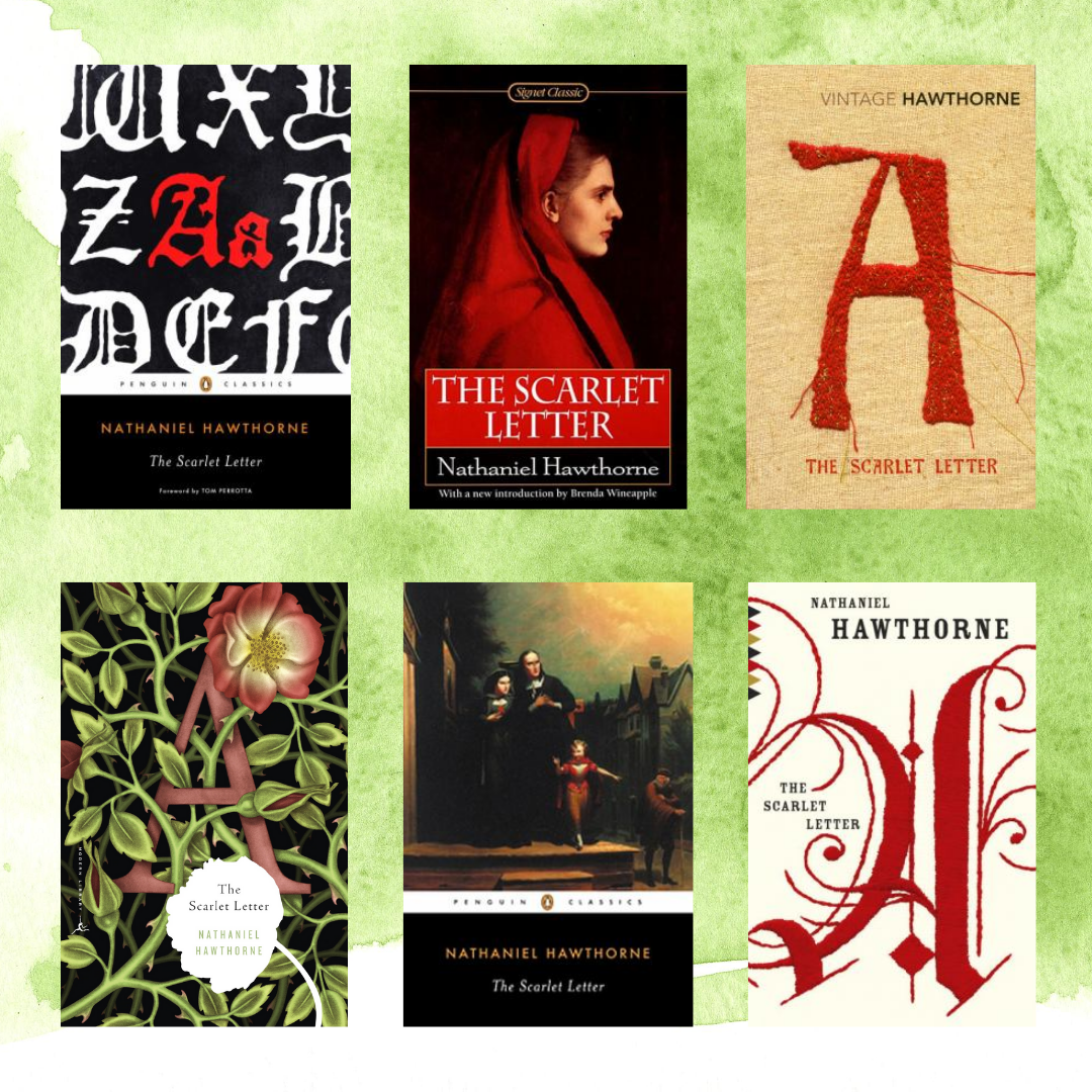 Six book covers for The Scarlet Letter by Nathaniel Hawthorne on a light lime green background.