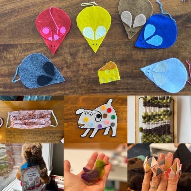 Handmade felt animals and other crafts.