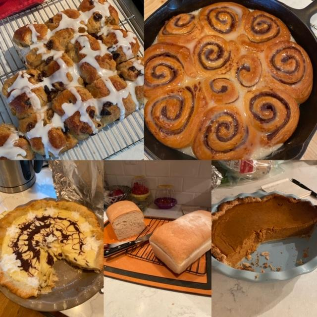 Homemade baked goods including pie, cinnamon rolls, and bread.