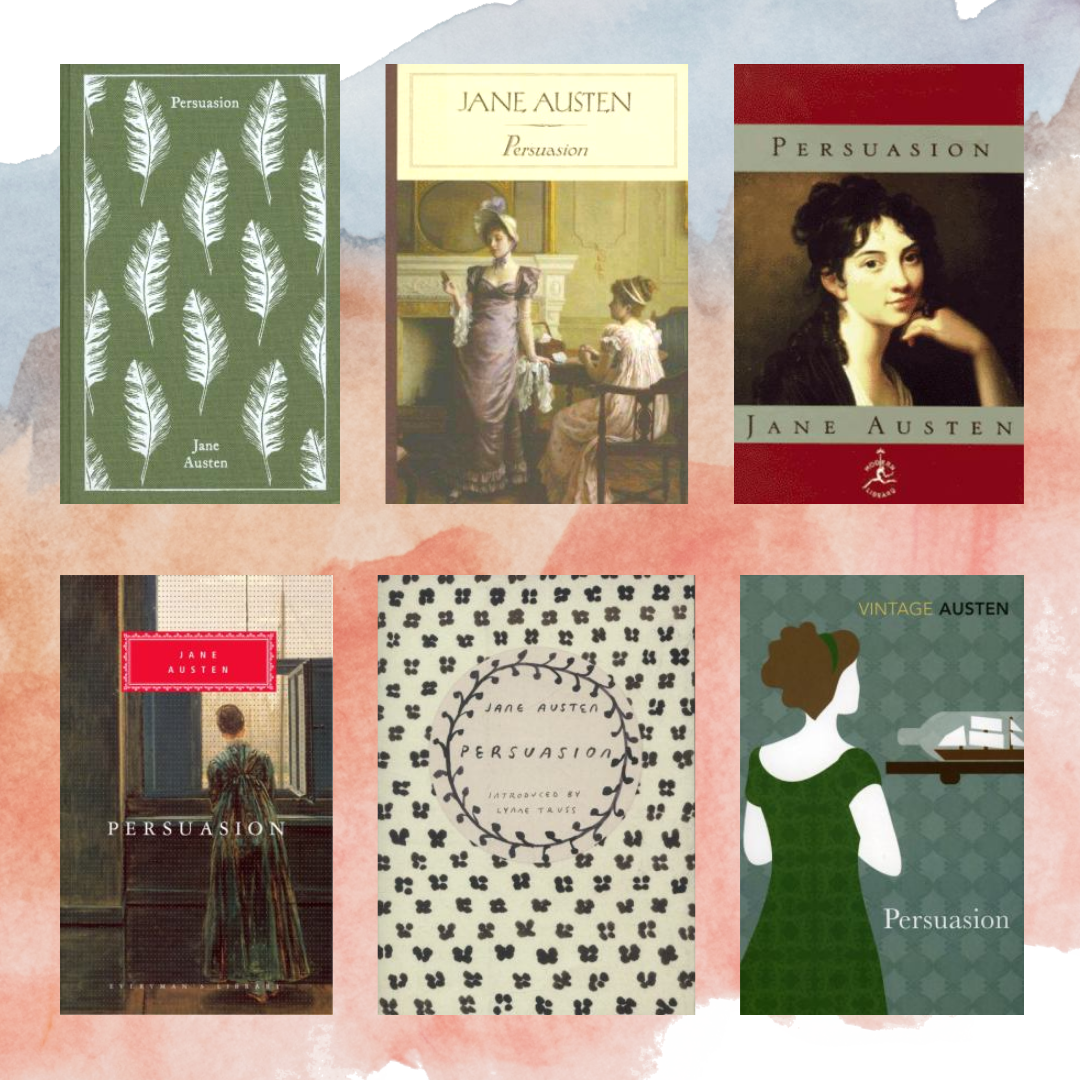 Six different book covers for Persuasion by Jane Austen.