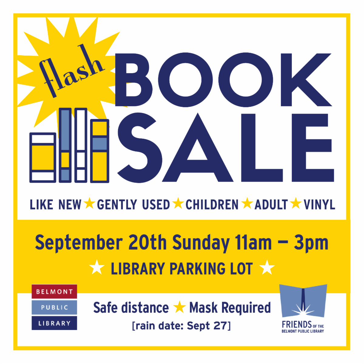 Friends Flash Book Sale September 20 11am-3pm