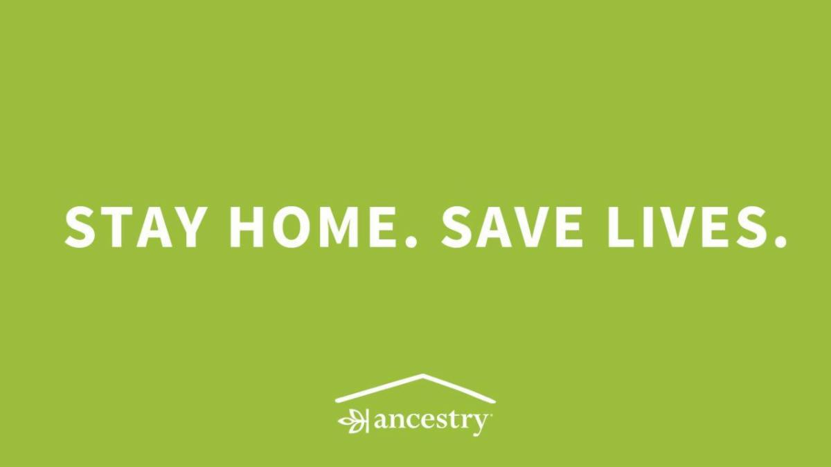 "Text on a green background reads ""Stay Home. Save Lives."" with the Ancestry logo."