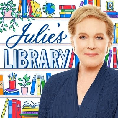 Actor Julie Andrews in front of an illustration of a colorful book shelf and the words Julie's Library.