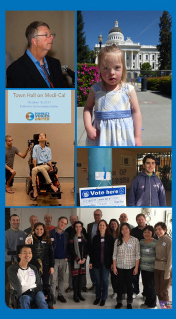 Image of a photo collage of self-advocates and family members at the California State capitol and various other places around California.