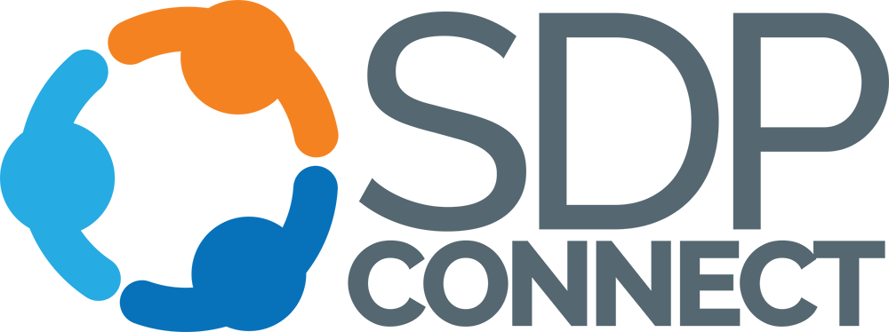 """The SDP Connect logo. Three figures that are orange, dark blue, and light blue extend their arms towards each other, forming a circle. The text """"SDP CONNECT"""" is written next to the figures in gray text."""