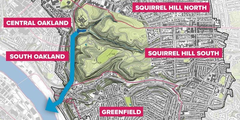 Pittsburgh neighborhoods surrounding Four Mile Run