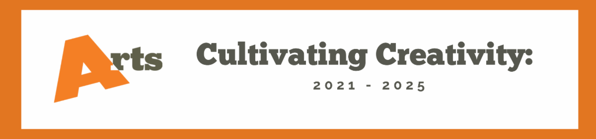 Cultivating Creativity 2021 to 2025 banner graphic with division of the arts logo