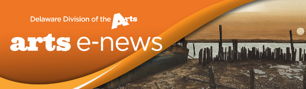Arts E News logo banner with Delaware Division of the Arts logo and Eberles painting Daybreak