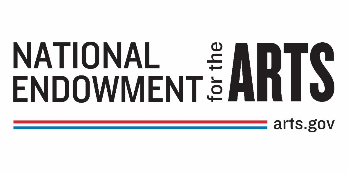 Logo National Endowment for the Arts and arts.gov in black text with red and blue line at bottom