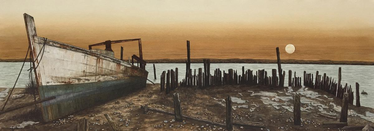 Eberles painting Daybreak of an old white wooden ship docked on sand next to the remnants of an old pier with the sun rising over the water in the background