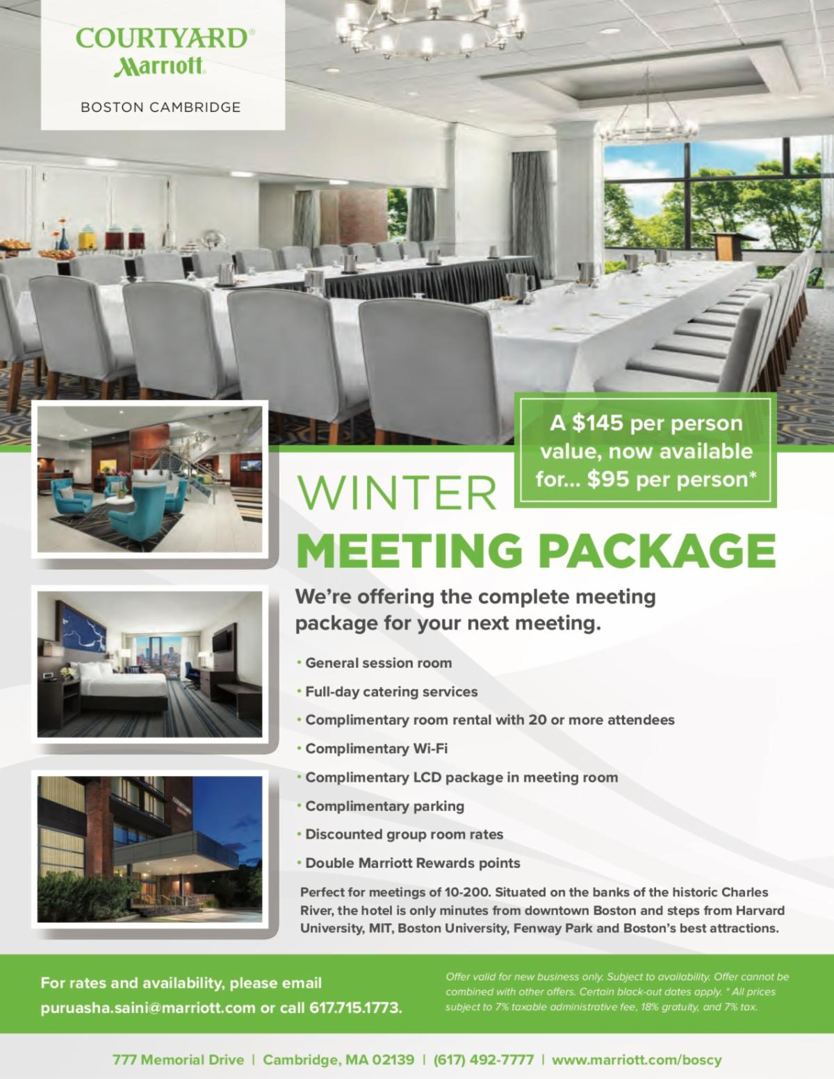 Link to pdf flyer of Winter 2019 Courtyard Marriott meeting package
