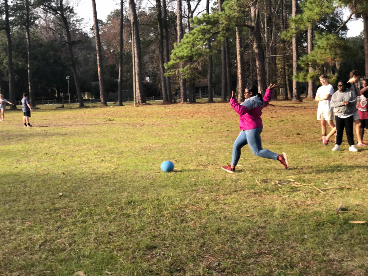 Kickball Game at Winter Youth 2020