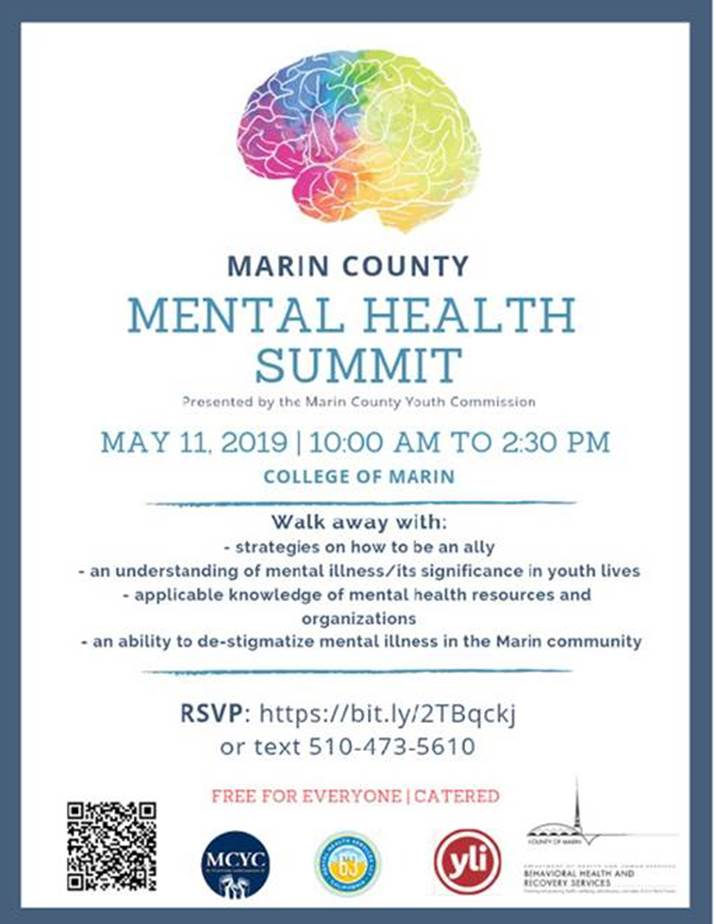 Mental Health Summit at the College of Marin on May 11th from 10am-2:30pm