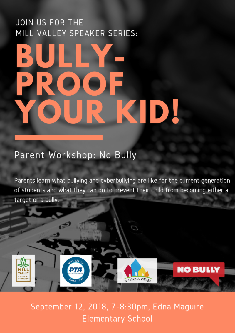 Bully Proof Your Kid flyer September 12 7-8:30pm Edna Maguire Elementary