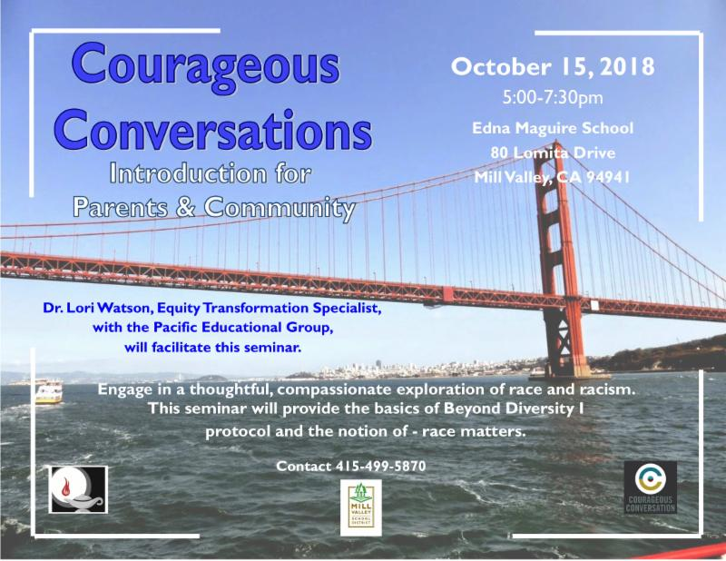 Courageous Conversations parent event on race and racism on October 15, 5-7:30pm at Edna Maguire