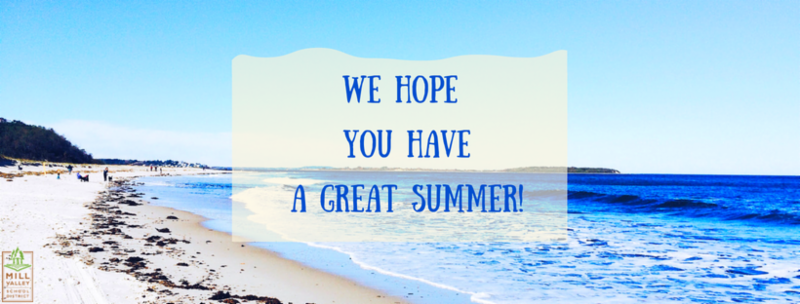 A beach with text that says we hope you have a great summer!