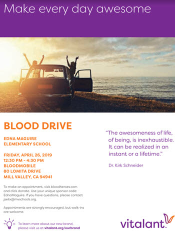 Blood Drive, Edna Maguire Elementary School, Friday, April 26th from 12:30-4:30.