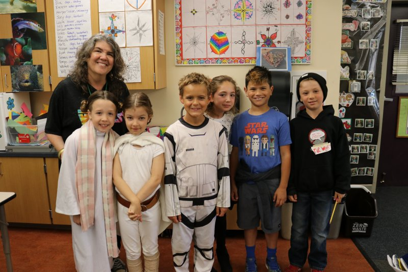 Park School Principal and students on Star Wars Day