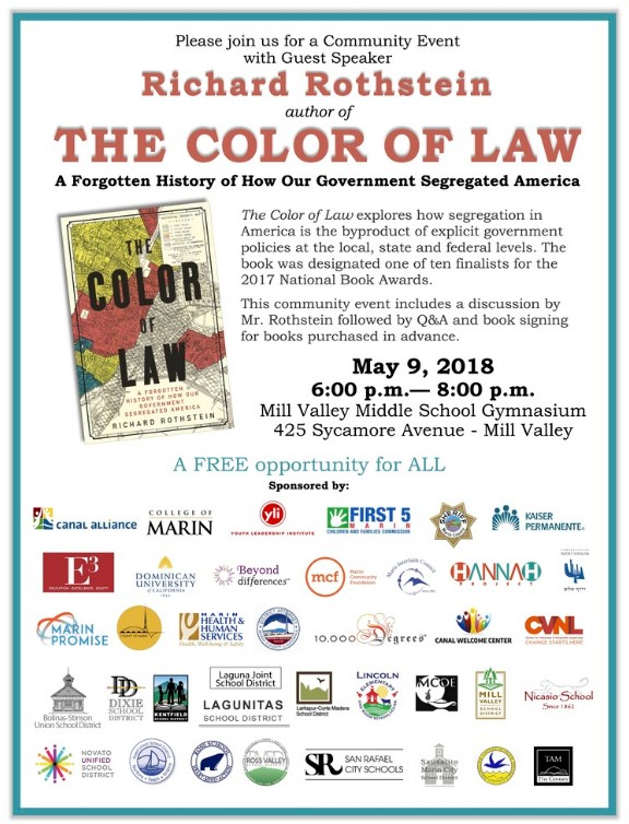 The Color of Law Guest Speaker event, May 9, 2018, 6-8pm in the Mill Valley Middle School Gymnasium