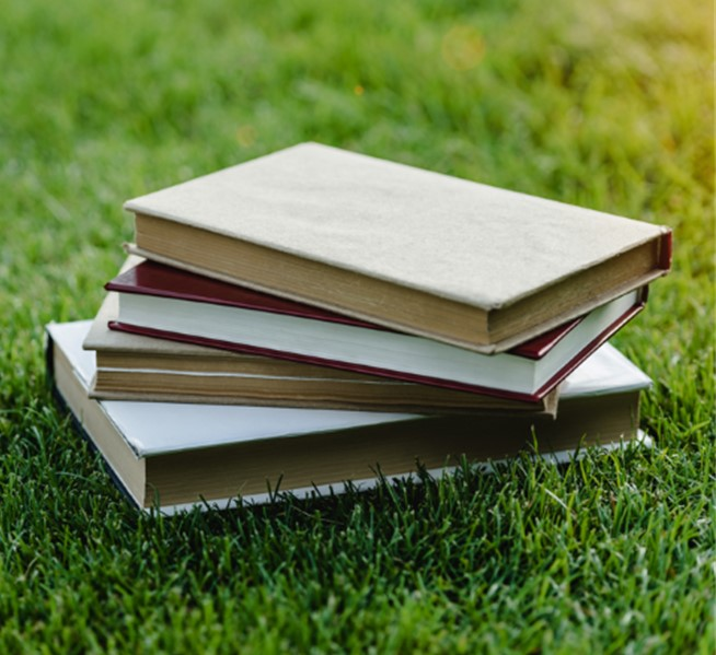 Stack of Books Outside