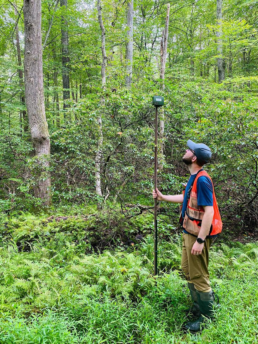 Standing in a forest a man in an orange safety vest looks up at an audio device atop a pole