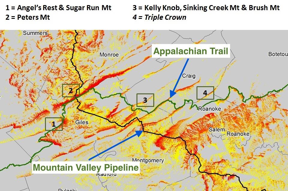 A map showing the proposed route of the Mountain Valley Pipeline in Giles County_ Virginia.