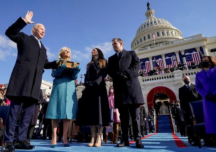 Biden sworn in as President.  Andrew Harnik AP