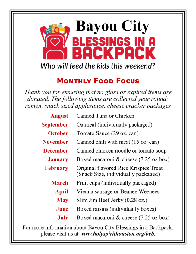 Bayou City Blessings Food Needs 2019-20