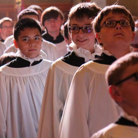 Boys choristers in procession St Pauls Cathedral San Diego