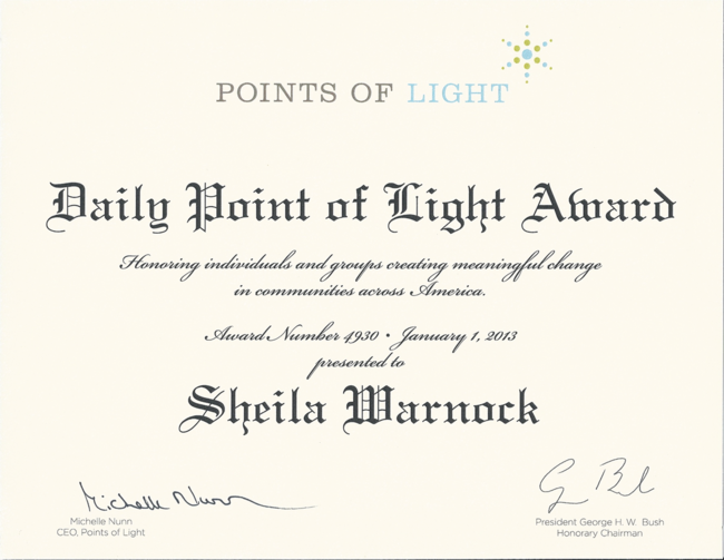 Sheila's Points of Light Certificate
