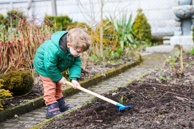 Little kid boy in spring with garden hoe, planting and gardening, outdoors. Funny toddler having fun with working in garden.